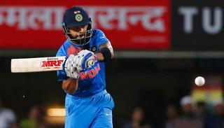 Virat Kohli bats during their first T20I.