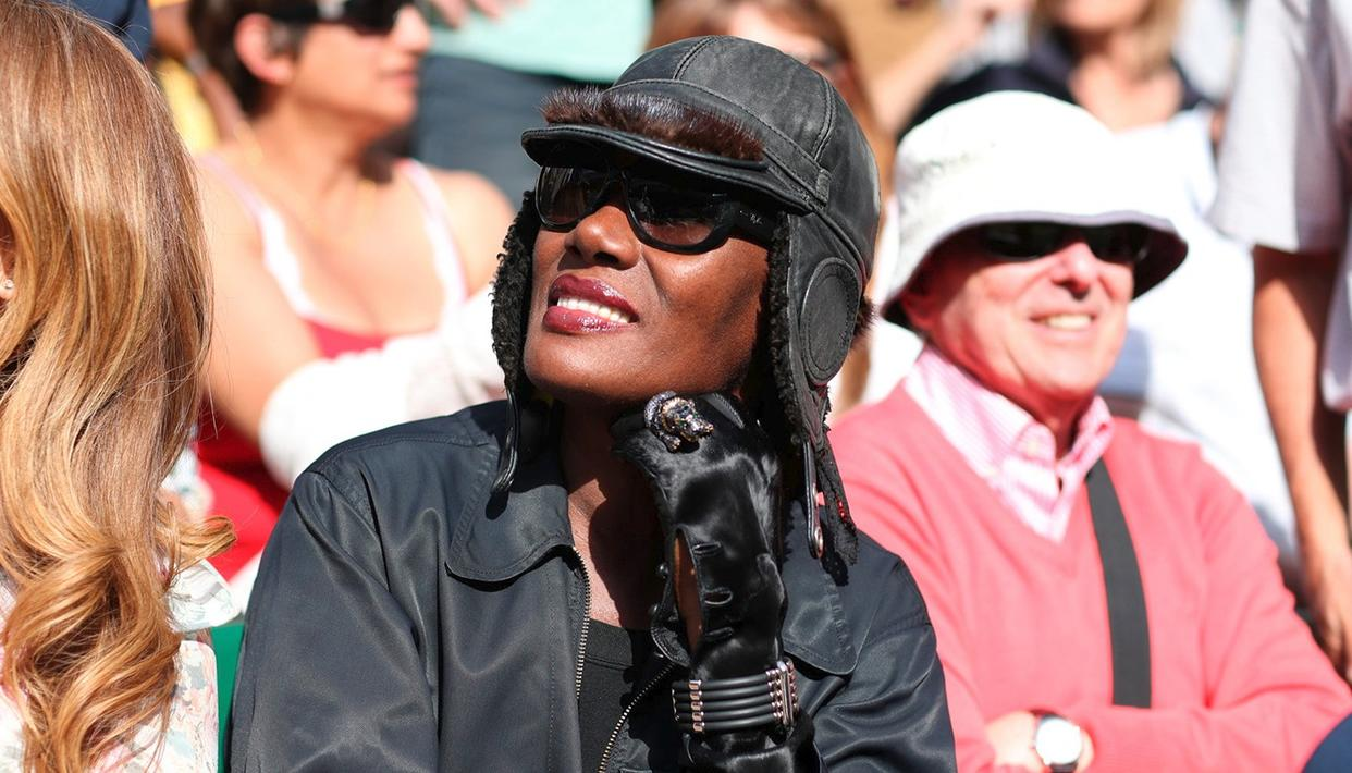 Supermodel, actress, singer and songwriter Grace Jones basking in the sun at the Wimbledon