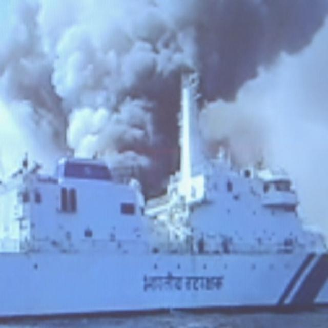 WATCH: SHIP WITH 13 INDIANS CATCHES FIRE