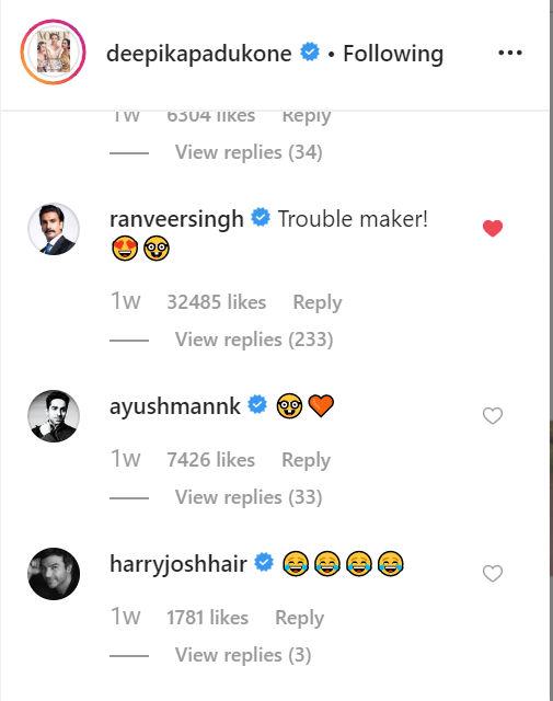 Ranveer's comment on Deepika's post
