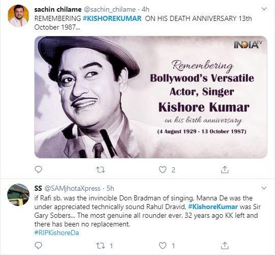 Kishore Kumar's fans on twitter