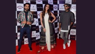 The stars of Bareilly Ki Barfi — Kriti Sanon, Ayushmann Khurrana and Rajkummar Rao — looking quite dapper! (Credit: Viral Bhayani)