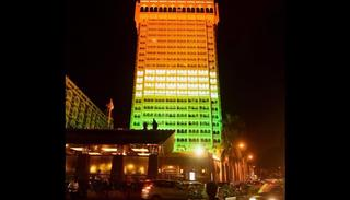 Taj Mahal hotel building illuminated in Indian Tricolor ahead of the Independence Day, in Mumbai. (PTI Photo)