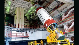 PSLV-C39 Liquid Stage at the Vehicle Assembly Building during Vehicle Integration (Credit: ISRO)