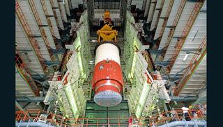 Hoisting of Nozzel End Segment of PSLV-C39 Core Stage during Vehicle Integration (Credit: ISRO)