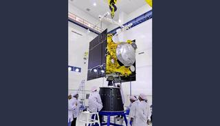 IRNSS-1H in clean room at SDSC SHAR (Credit: ISRO)