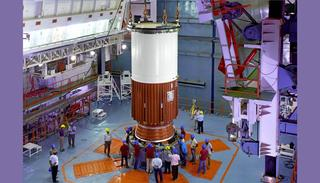 Nozzle End Segment of PSLV-C39 Core Stage being placed on the Mobile Launch Pedestal (Credit: ISRO)