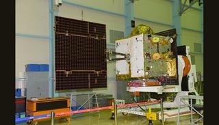 IRNSS-1H at clean room with one of its Solar Panels Deployed (Credit: ISRO)