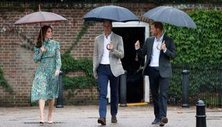 Catherine, Duchess of Cambridge, Prince William, Duke of Cambridge and Prince Harry are seen during a visit to The Sunken Garden at Kensington Palace on August 30, 2017 in London, England  (Picture credits: Getty)