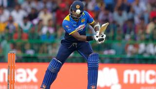 Angelo Mathews plays a shot during the fifth ODI.