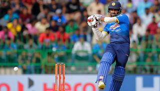 Lahiru Thirimanne plays a shot during the fifth ODI.