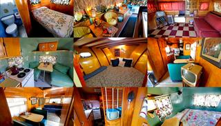 This combination of Wednesday, April 26, 2017 photos shows from left top to bottom; The interiors of 1951 Spartan Royal Mansion, 1947 Airporter Bus, 1957 Airfloat etc