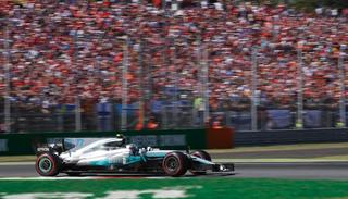 Mercedes driver Valtteri Bottas of Finland steers his car during the Italian Formula One Grand Prix.