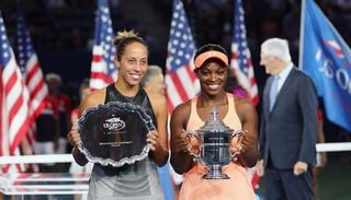 Stephens and Keys pose during the trophy presentation Photo Credits: Getty Images