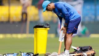 Mahendra Singh Dhoni before the start of the third ODI.