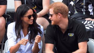 Prince Harry and his girlfriend Meghan Markle attend a wheelchair tennis event at the Invictus Games in Toronto, Monday, Sept. 25, 2017. Source: AP