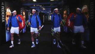Roger Federer and Rafael Nadal of Team Europe enter the arena for there doubles match.