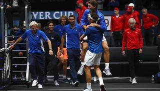Roger Federer of Team Europe celebrates with Rafael Nadal and Bjorn Borg of Team Europe after winning the Laver Cup.