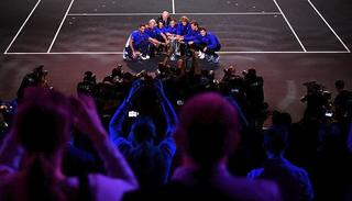 Team Europe celebrate after winning the Laver Cup .