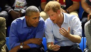 Harry and Obama appear to be in serious discussion. Credit: Getty Images