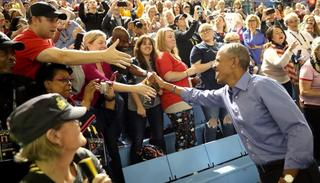 Obama meets members of public at the Invictus games. Credit: Getty Images