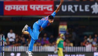 Jasprit Bumrah bowls during their first T20I.
