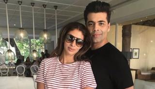 It doesn't take long for Karan Johar to get into the groove. He poses here with Shweta Bachchan, someone who normally chooses to stay away from the limelight.