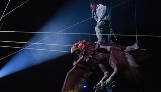 Travis Scott made a grand statement during his performance as he 'flew' on an eagle at the MTV EMA's 2017 in Wembley.