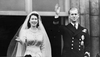 Queen Elizabeth II and King Philip on their wedding day