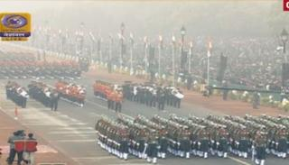 Marching regiments and contingents during the Grand Parade