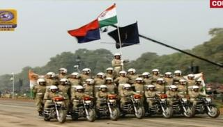 Bike stunts by Women BSF Contingent at the 69th Republic Day parade