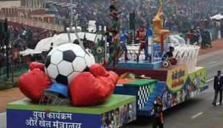 Ministry of Youth Affairs and Sports - Khelo India tableau at the 69th Republic Day parade