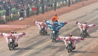 BSF's all-women team 'Seema Bhawani' performs on motorcycles during 69th Republic Day Parade at Rajpath in New Delhi on Friday.  (Source: PTI)