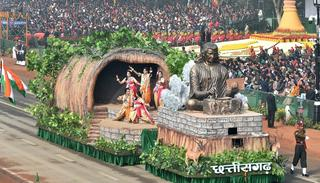 A tableau of Chhattisgarh state on display at Rajpath during the 69th Republic Day Parade, in New Delhi on Friday.  (Source: PTI)