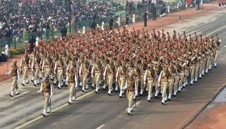 Marching contingents during 69th Republic Day Parade at Rajpath in New Delhi on Friday.   (Source: PTI)