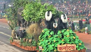 A tableau of Karnataka state on display at Rajpath during the 69th Republic Day Parade, in New Delhi on Friday.