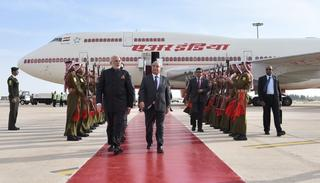 PM Narendra Modi landed in Jordanian capital Amman, his transit to Palestine, on Friday. (All photos courtesy: Twitter)