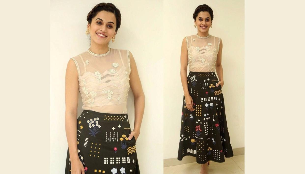 Taapsee Pannu has a very artsy skirt (Photo: Viral Bhayani)