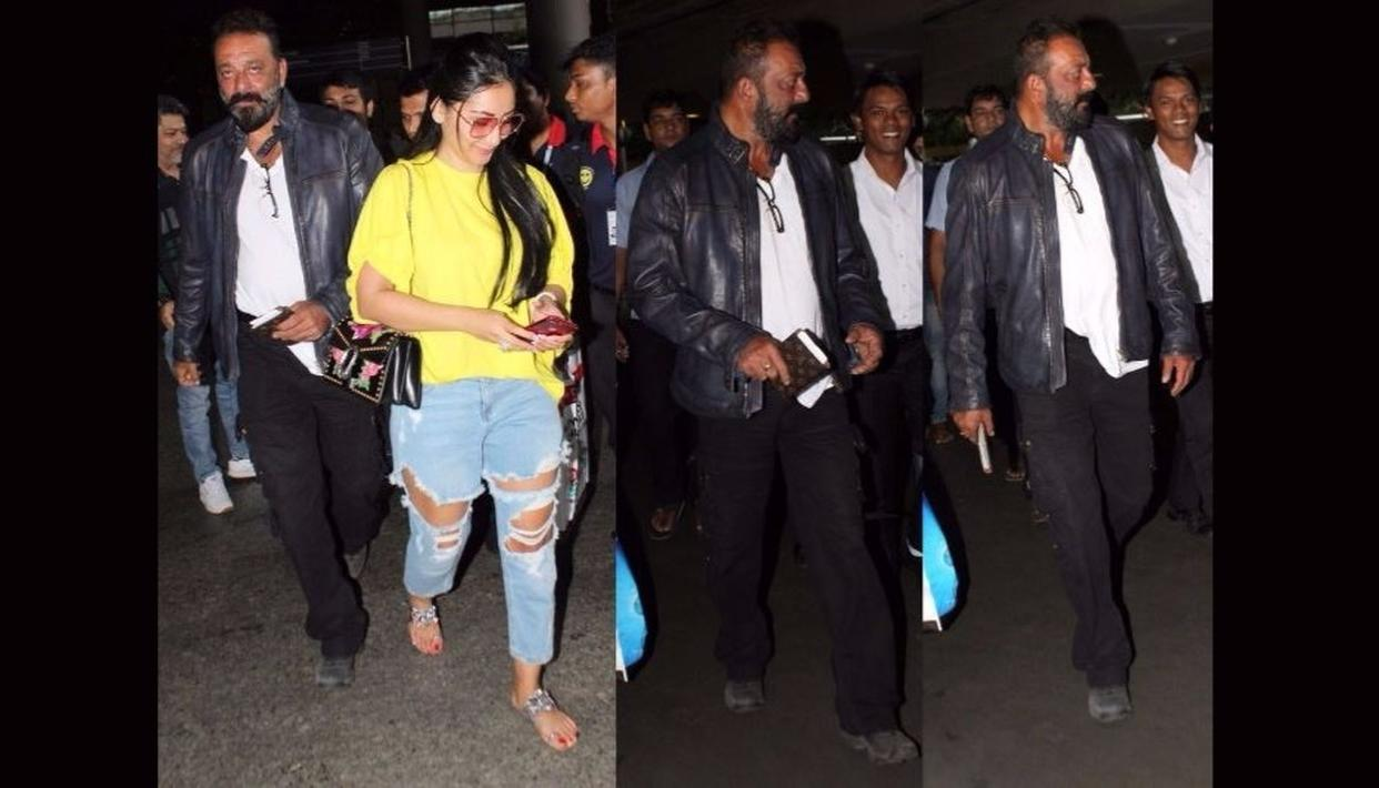 Sanjay Dutt looking quite gangster at Mumbai airport (Credit: Viral Bhayani)