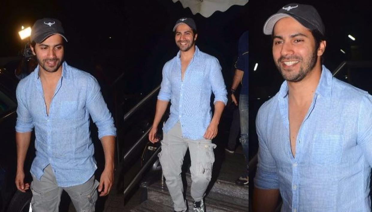 Varun Dhawan emerges after watching a movie at Juhu (Credit: Viral Bhayani)