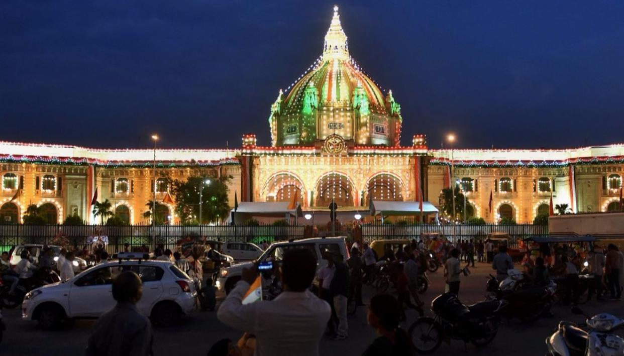 Uttar Pradesh Vidhan Sabha is decorated on the eve of Independence Day in Lucknow. (PTI Photo)