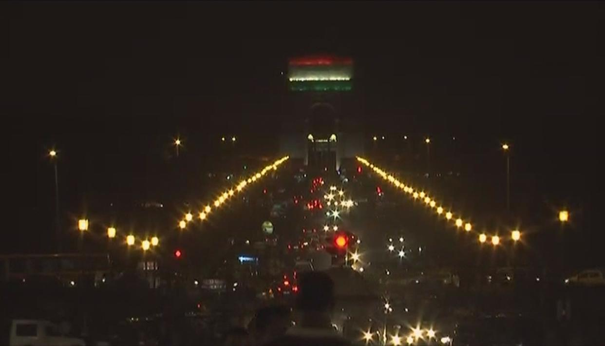 India Gate emblazoned with the Tricolour in New Delhi