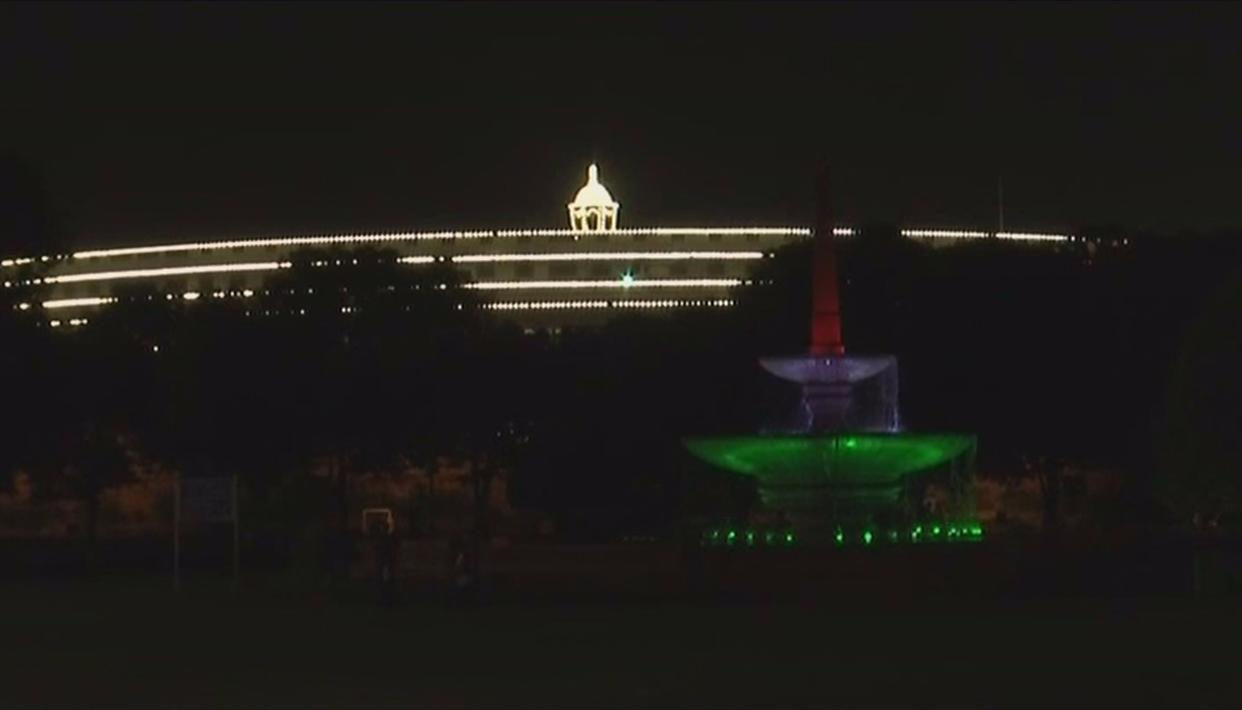 Parliament House, a beacon of democracy, with its satellite Tricolour fountain