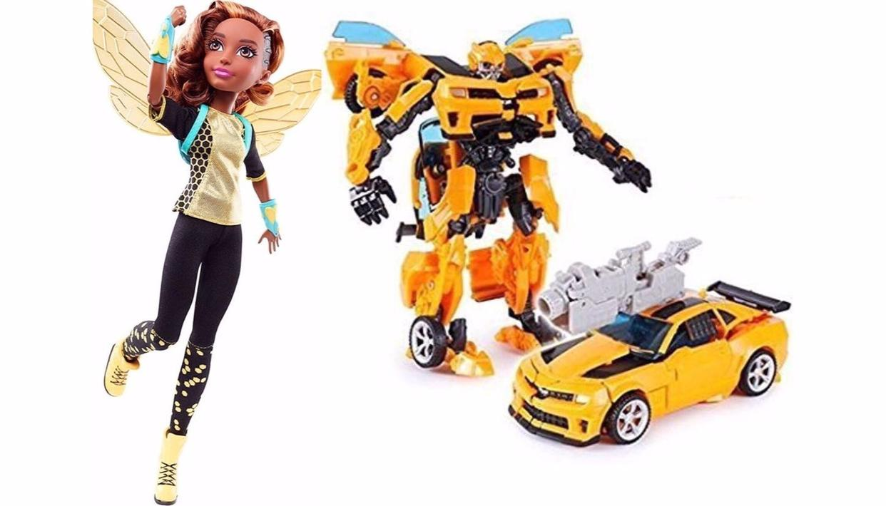 L-R: DC's and Hasbro's Bumblebees respectively (Source: Amazon)