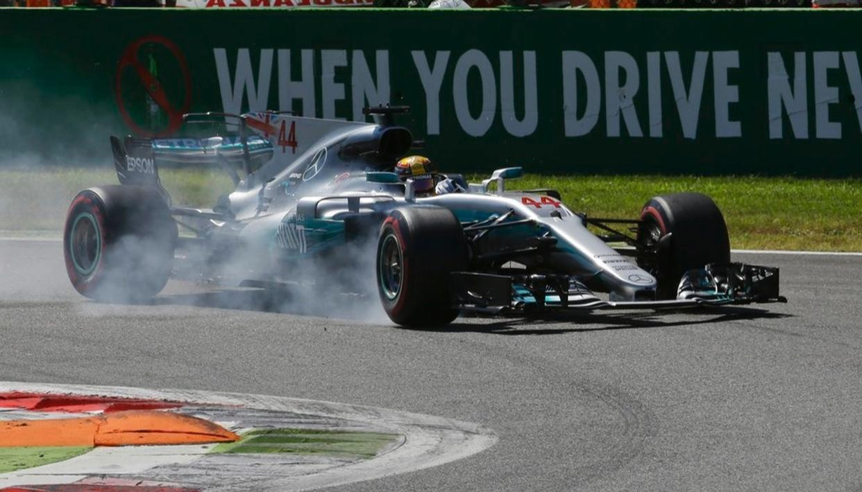 Mercedes driver Lewis Hamilton of Britain steers his car during the first laps.