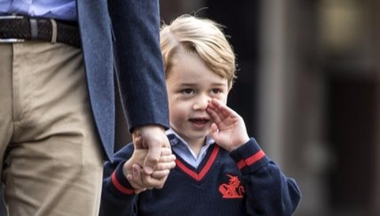 Prince George arrives for his first day of school at Thomas's school in Battersea, London,