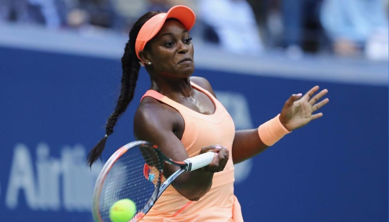 Sloane Stephens  returns a shot against Madison Keys  during their Women's Singles finals match Photo Credits: Getty Images