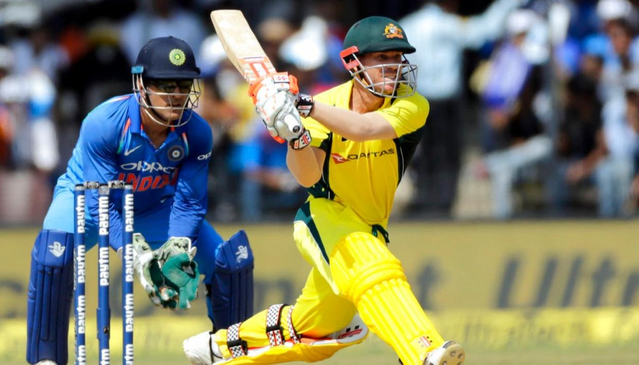 David Warner bats during the third ODI between India and Australia in Indore.