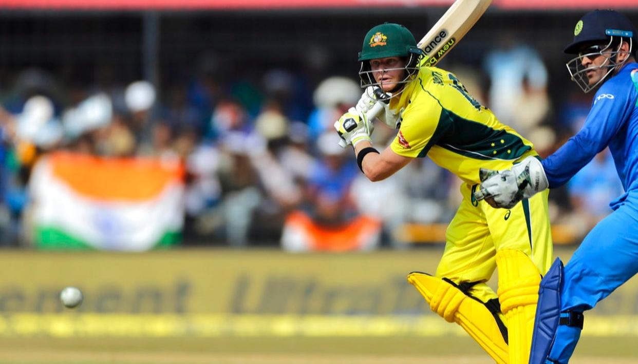 Steven Smith bats during the third one-day international cricket match between India and Australia in Indore.