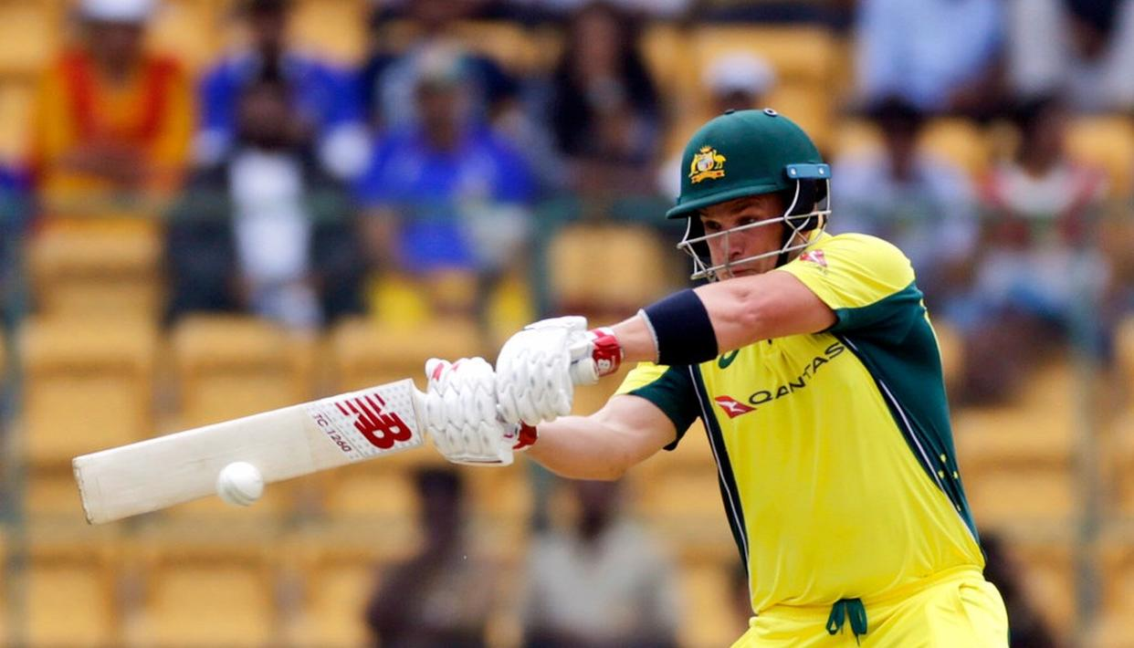 Aaron Finch bats during the fourth ODI against India.